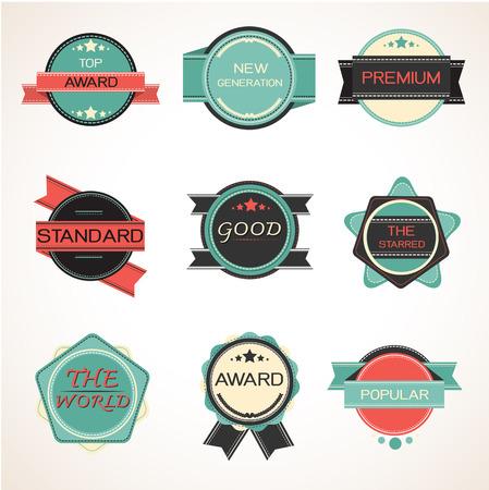 Labels design vintage style set. vector illustration. Vector