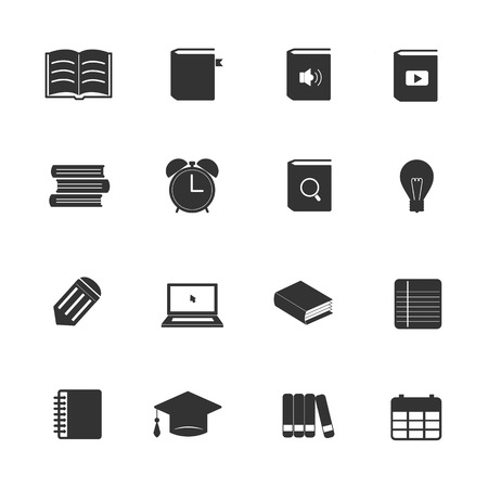 book page: Learning education icons set
