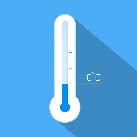 extreme science: Thermometer cool winter temperature. Vector illustration.
