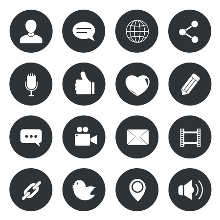 round icons: Chat circle Icons. vector illustration.