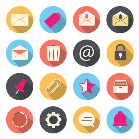 junk mail: Email color icons Illustration