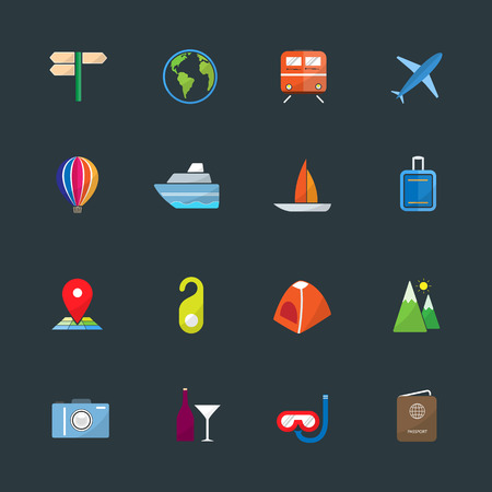 excursions: Traveling and transport color icons