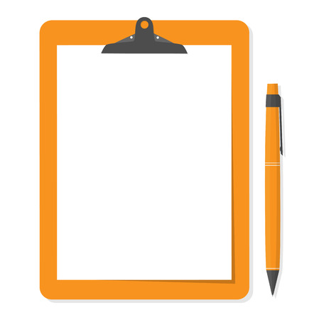 clipboard: Orange clipboard with white paper and pen put alongside.