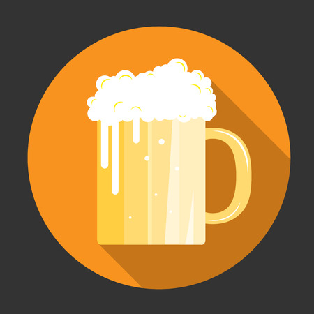 alchoholic drink: Glass of beer with bubbles Illustration