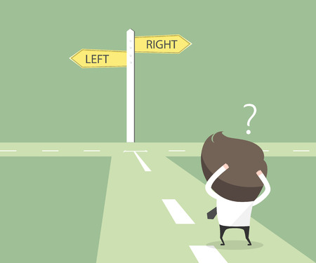 Businessmen hesitate to choose path. decision concept.