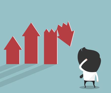 sad: Businessman looking stock crisis Illustration