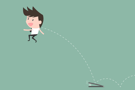 success concept: Businessman Fast Jumping to goal. success concept. Illustration