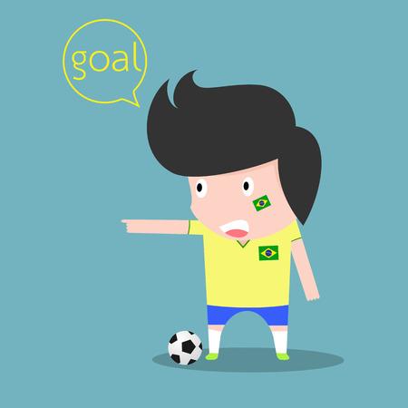 soccer goal: Brazil soccer player. goal concept