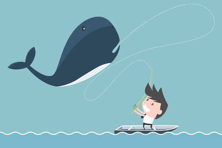 cartoon whale: Big whale of businessman fishing. success concept.
