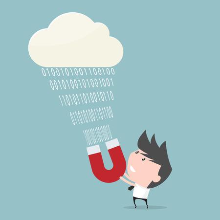 pull: Businessman pull data of cloud computing.