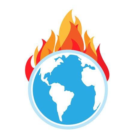 地球温暖化。地球上に火します。