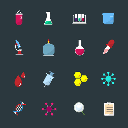 neutrons: Science Equipment and Lab color Icons set