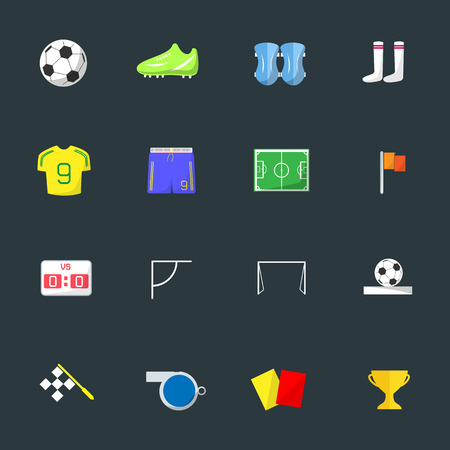 goal cage: Soccer Color icons on black background
