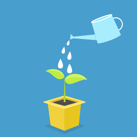 wateringcan: Cultivation in pot. growth concept. Illustration