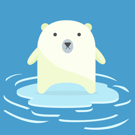 floe: Polar bear on an ice floe. concept of global warming. Illustration