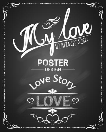 Mi amor pizarra de la vendimia diseño del cartel Foto de archivo - 41721244
