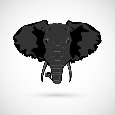 asian elephant: Elephant head sign black
