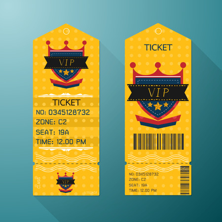 Ticket Design Template Retro Style. Gold VIP Class.