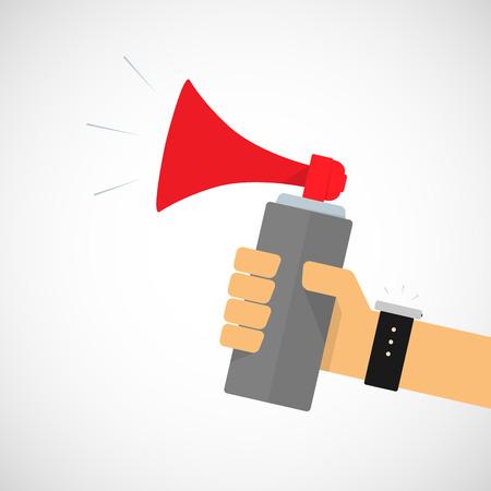 Hand Holding Air horn Stock Illustratie