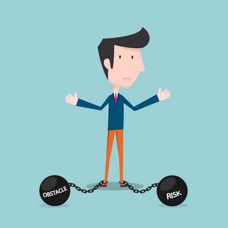 Hombre de negocios con los obstáculos y riesgos Foto de archivo - 41721435