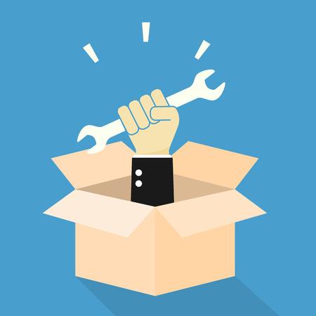 파악: 손 상자에 렌치를 개최합니다. 도구 상자 개념.