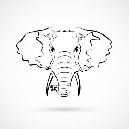 hoofd van de olifant  Stock Illustratie