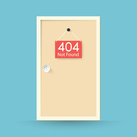 found: Page not found Error 404. door concept Illustration