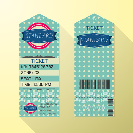 airline: Ticket Design Template Retro Style. Standard Class