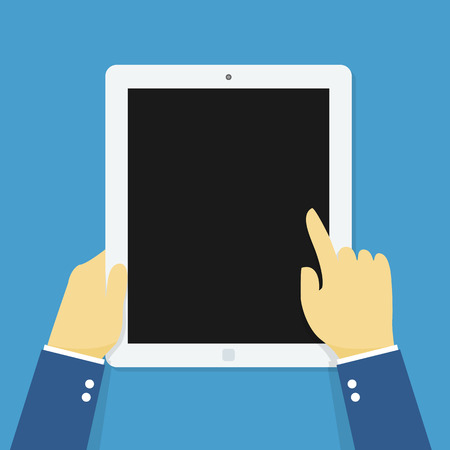 multi touch: Hand holding touching tablet. Illustration