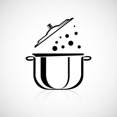 냄비 요리 블랙 라인 디자인 일러스트
