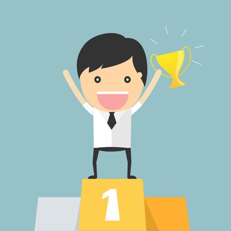concept de podium gagnant d'affaires Vecteurs