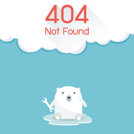 found: Page not found Error 404. Polar Bear Concept