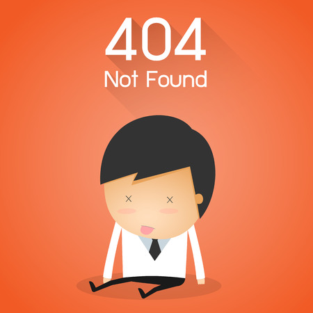 not found: 404 Error Page not found. businessman fail concept Vectores