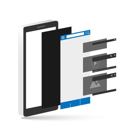vecter: smartphone layer socail media. vecter illustration