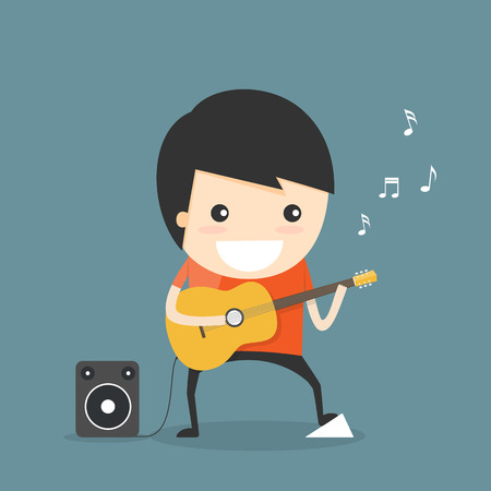 cartoon singing: Play guitar Illustration