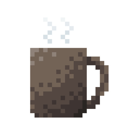 bit: Coffee Cup. 8 bit Pixel concept Vector illustration