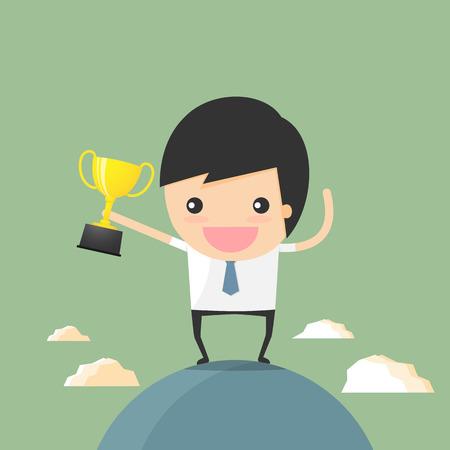 businessman winner holding trophy on the world