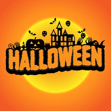 vecter: Halloween full moon. Vecter illustration