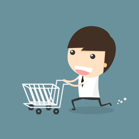 shopping cart: Businessman shopping with cart