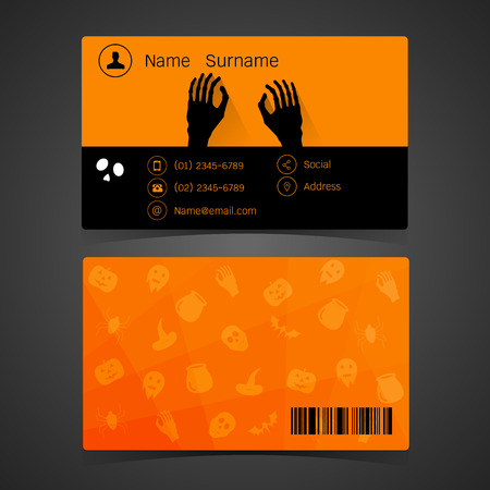 cat call: Business card. concept of halloween