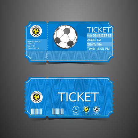 Football Ticket Card Retro design Vettoriali