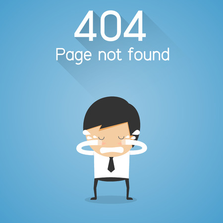crying: 404 Error Page not found. businessman cry concept
