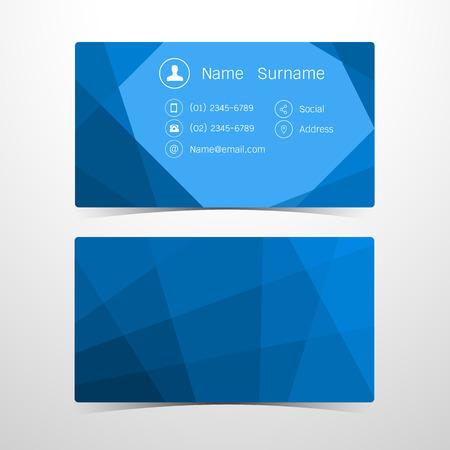 card design: Business Cards Polygonal blue design. Vector illustration