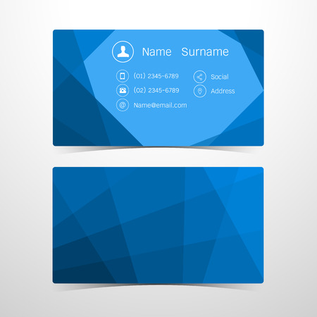 business call: Business Cards Polygonal blue design. Vector illustration