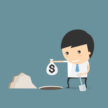 hide: Hide the money. businessman idea concept