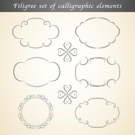 embellish: Filigree set of calligraphic elements embellish vintage design