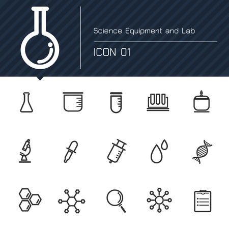 laboratorio: Icono de equipos y laboratorio de ciencias