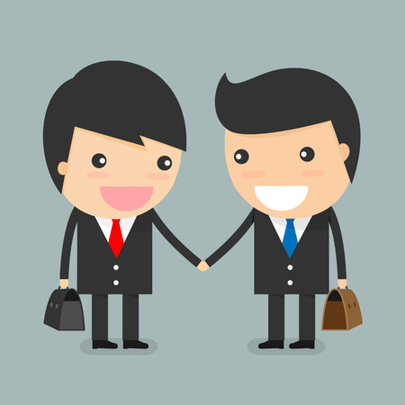friends together: Businessman partnership handshake to business success concept.