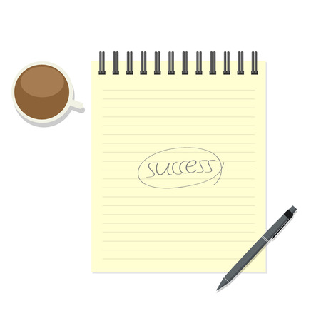 paper note: Write success on paper note with pen and coffee cup