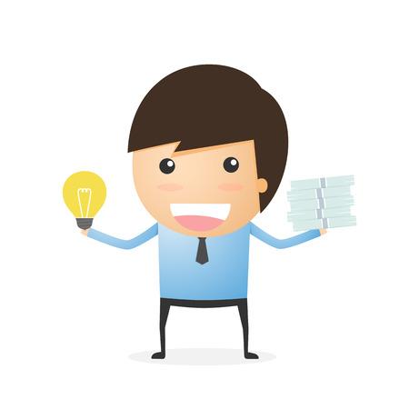 unbalanced: Comparison between idea and money of businessman